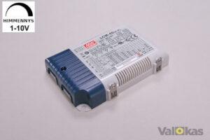 Virta-ohjain 40W. 1-10V säädöllä (dim). Aseteltava ohjausvirta: 350-1050 mA. Lähtö 2-100 Vdc