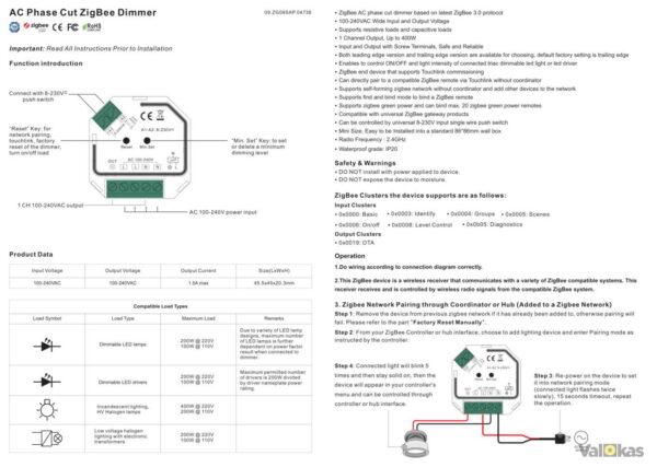 ZIGBEE SRZG9101SACHP käyttöohje asenusohje sivu1